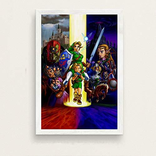 binghongcha Zelda Legend Videojuego Cartel De Pared Decoración del Hogar Pintura sobre Lienzo Decoración del Hogar para Habitación De Niños para Sala De Estar A-4040 (50X70Cm) Sin Marco