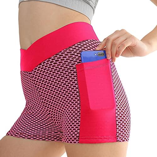 LOVOICE Pantalones cortos de yoga de alta calidad, cintura alta, spandex, con bolsillos, pantalones de equitación, bolsillos de colores, cintura alta, leggings para mujer