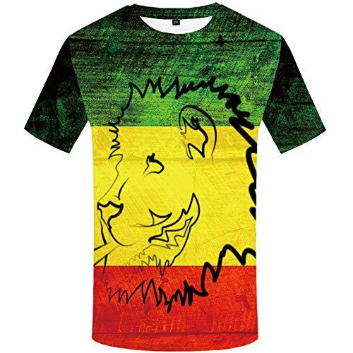 Peinture 3D Lion T-Shirt Mode Animal Impression Numérique Confortable Doux Manches Courtes@Vert Foncé_XL