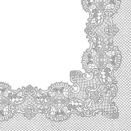 Decorline- 20 Servilletas de papel '' Laces frame silver' - 33x33 cm- 3 capas