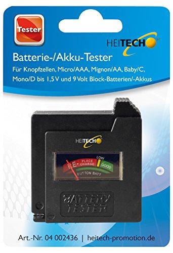 Heitech 04002436 Batterie und Akku Tester, für Knopfzellen, Micro/AAA, Mignon/AA, Baby / C, Mono / D und 9 Volt Blockbatterien / Akkus