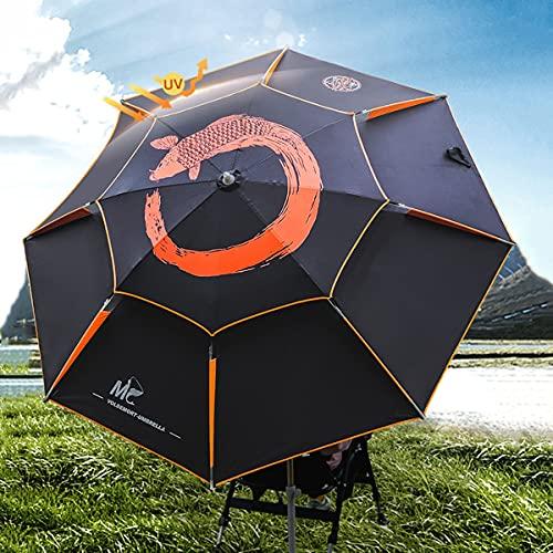 Refue Ombrellone da Spiaggia da Pesca Pieghevole 200cm Inclinabile Protezione UV Antivento Ombrello Parasole da Esterno Grande per Mare Portatile(Nero) (Size : 260cm 8.5ft)