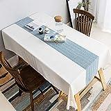 XQSSB Mantel Lavable Rectangular Resistente Al Agua Resistente Al Desgaste Suave Fácil de Limpiar para Jardín Habitaciones Decoración de Mesa Azul 135 × 250cm