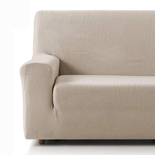 Eiffel Textile Funda Sofa Elastica Protector Adaptable Rústica Sofá 4 Plazas, 50% Poliéster, Marfil