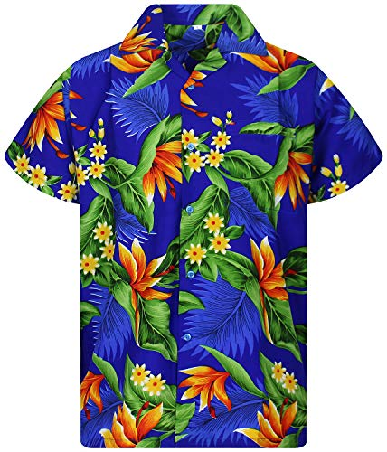 Camisa Hawaiana para Hombre Funky Casual Button Down Very Loud Manga Corta Unisex Strelitzie