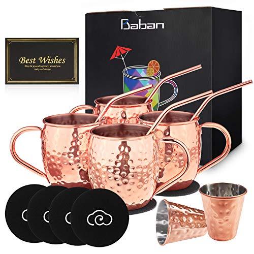 Baban Moscow Mule Kupferbecher: Umfasst 4 x Becher 500ML, 4 x Untersetzer, 4 x Strohhalme, 2 x Shotglas 60ML in Geschenkbox;Das beste Geschenk für einen Liebhaber