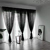 Fliegiyi レースカーテン UVカット 風通し 通気性が良く カーテンチュール 薄手 リビングルーム 客間 黒
