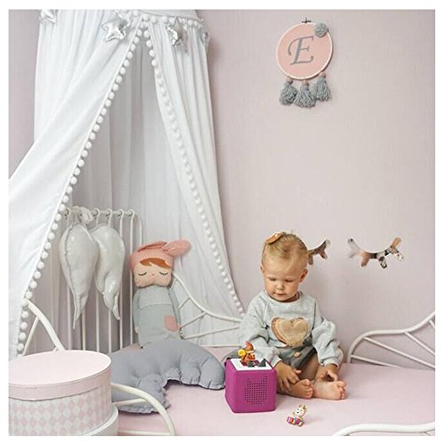 LOAOL Kids Bed Canopy with Pom Pom Hanging Mosquito Net for Baby Crib Nook Castle Game Tent Nursery Play Room Decor (White)