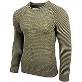 Rusty Neal Herren Strickpullover Herren Two Tone Rundhals Pullover Grobstrick RN-13318, Farbe:Khaki, Größe:M