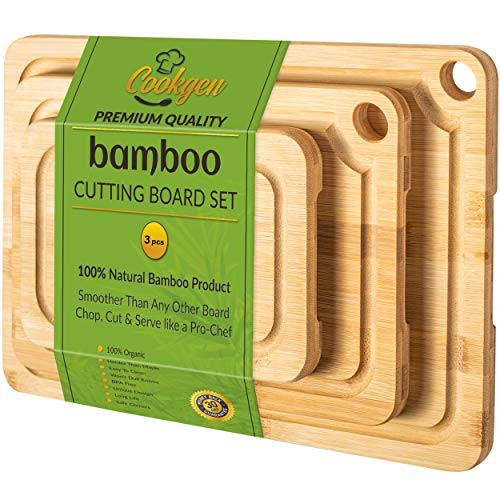 Cookgen Bamboo Cutting Board 3-Pcs Set With Juice Groove, Pre-Seasoned, Large Handles, Wooden Cutting Board for kitchen, Reversible chopping board