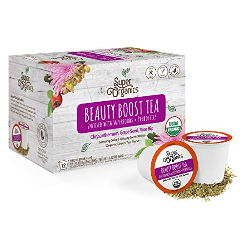 Super Organics Beauty Boost Green Tea Pods With Superfoods & Probiotics | Keurig K-Cup Compatible | Beauty Tea, Skin Care Tea | USDA Certified Organic, Vegan, Non-GMO Natural & Delicious Tea, 12ct