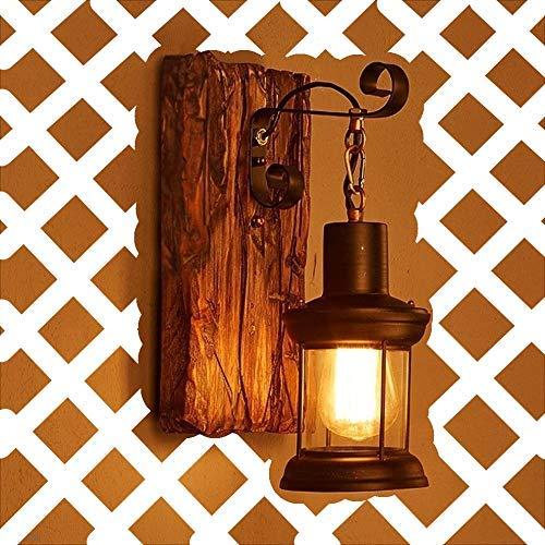 Wandleuchte E27 Holz Retro Lichter Rustikale Wohnzimmer Wandlampe Schlafzimmerwand Kreative Beleutung für Treppenhaus Flur Cafe Bar Innen Restaurant Hotel Glaslampenschirm
