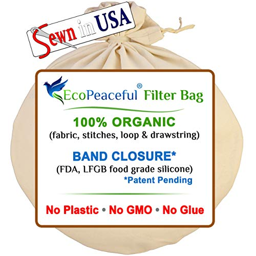EcoPeaceful - Tight Weave - Organic Cotton Strainer Bag (ALL 100% Organic: Fabric, Stitches, Drawstring) + Silicone Band Closure - Cold Brew Coffee, Celery Juice, Almond Milk - Fine Strainer Reusable