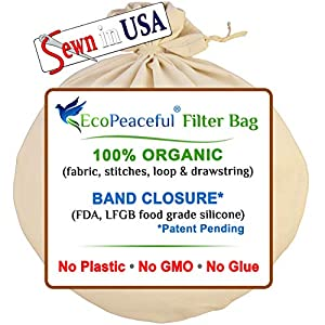 EcoPeaceful - Tight Weave - Organic Cotton Strainer Bag (ALL 100% Organic: Fabric, Stitches, Drawstring) + Silicone Band…  