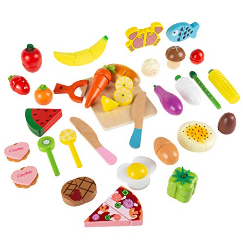 Hey! Play! Pretend Play Food Set-Wooden Magnetic Fruits, Vegetables, Bread, Pizza & More-Colorful Creative Play Kitchen Accessories for Kids