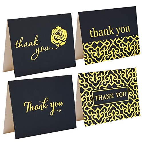 Thank You Cards - Set Of 48 Navy Blue Thank You Notes In Gold Foil Embossed Lettering And Matching Bulk Envelopes - Perfect For All Occasions Including Weddings, Bridal Showers And Baby Showers