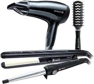 Remington - Set de regalo con secador de pelo, rizador, plancha y cepillo