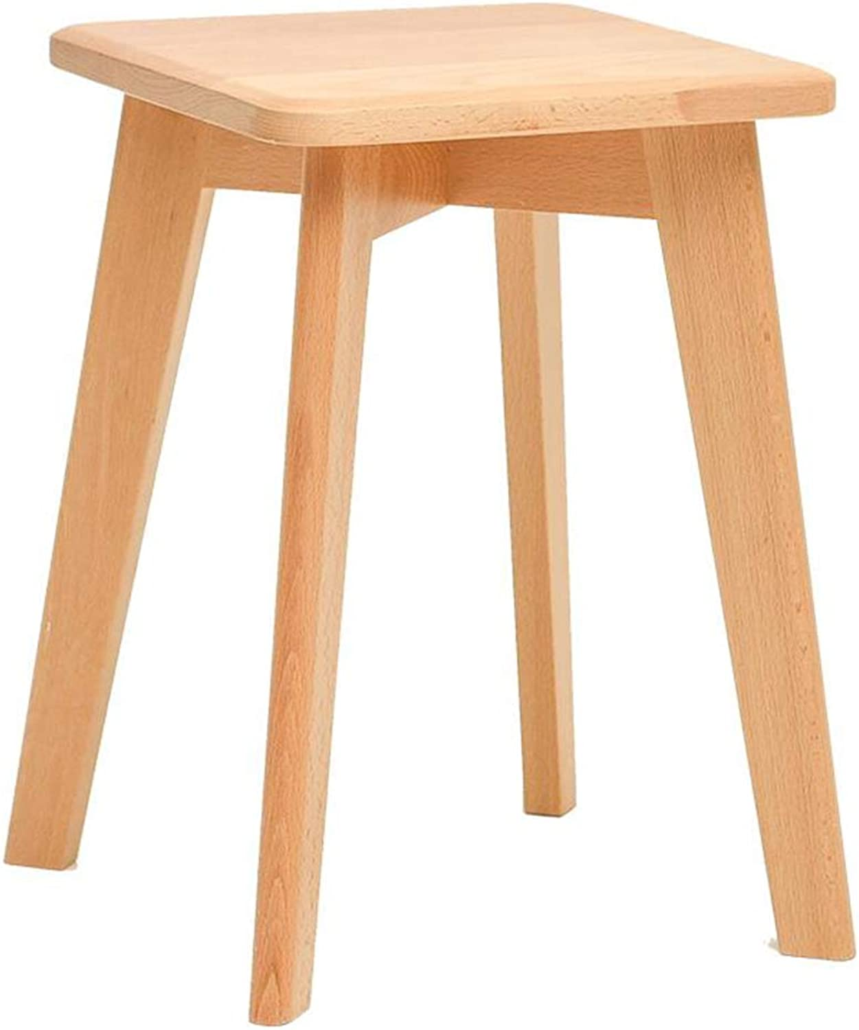 Wooden Dining Stool Makeup Stool Dressing Stool Square Stool Living Room Table Stool Home Small Bench (color   A)