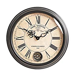 Wall Clock 18 Inch Vintage Metal Wrought Iron HD Glass Clock Face Display Battery-Driven Silent Operation, No Ticking, Suitable for Living Room Bedroom Decoration