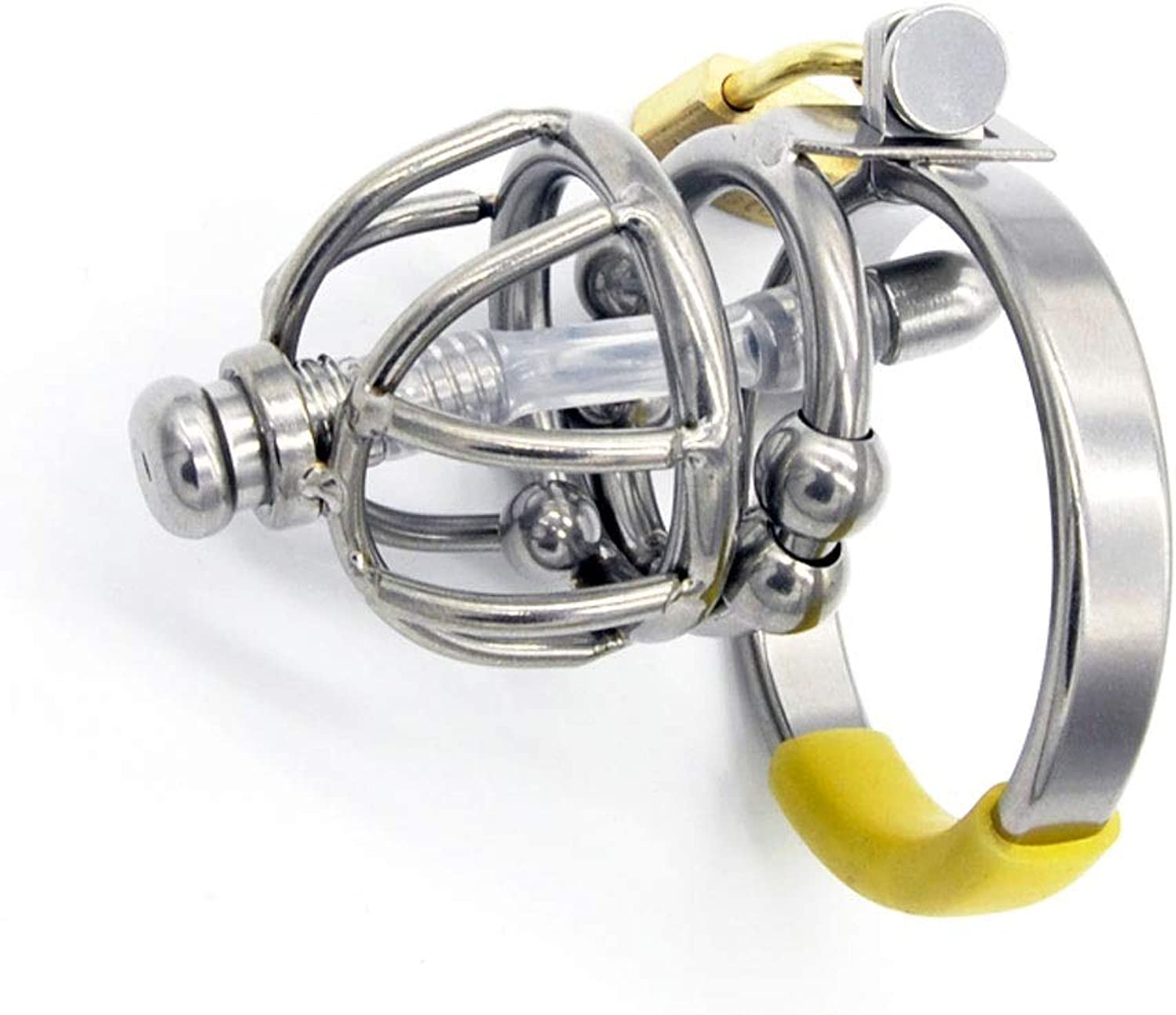 Hollowed Out Stainless Steel Chastity Device with Massage Beads Chastity Lock Cage Comfortable and Breathable