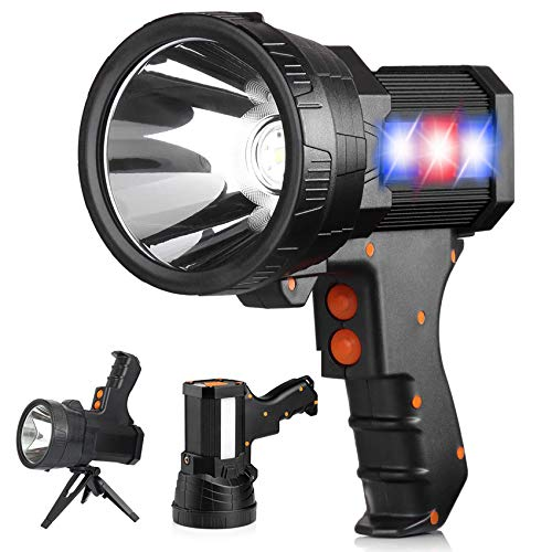 Rechargeable Super Bright LED Spotlight Super Bright 6000 High Lumens Flashlight Handheld 10000mAh Long Lasting Large Flashlight Searchlight IPX4 Waterproof Lightweight and Super Bright Flashlight