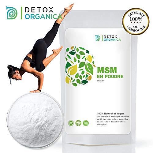 Detox Organica MSM - Polvere 1 kg pura al 99,9% -soffio organico 100% naturale & Vegan-Allevia Artrosi e dolori articolari - Detox & Jeuness - contro le carenze di soffio Prodotto in Germania