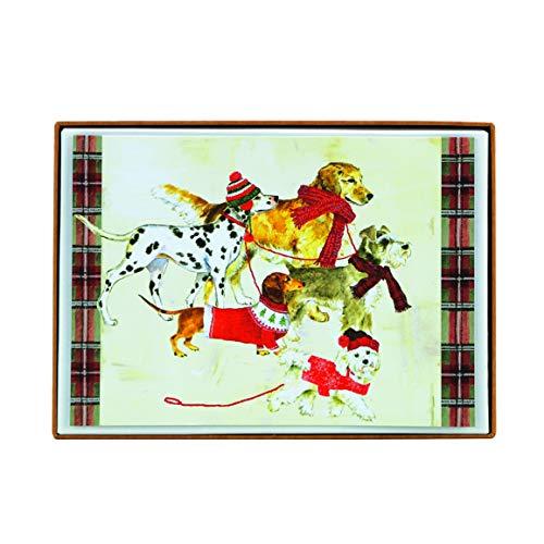 Graphique Dog Party Karten – 15 verzierte Glitzerfeiertagskarten mit Hunden in Schals, Weihnachtskarten, inklusive passenden Umschlägen und Aufbewahrungsbox, 12 x 17 cm