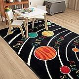 Mohawk Home Aurora Solar System Kids Playroom Educational Area Rug, 5'x8', Black