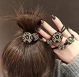 Yean Haargummi, Kristall, Haargummis, Stoff, elastisch, Schwarz, mit Leoparden-Quadraten, für Damen und Mädchen, 3 Stück