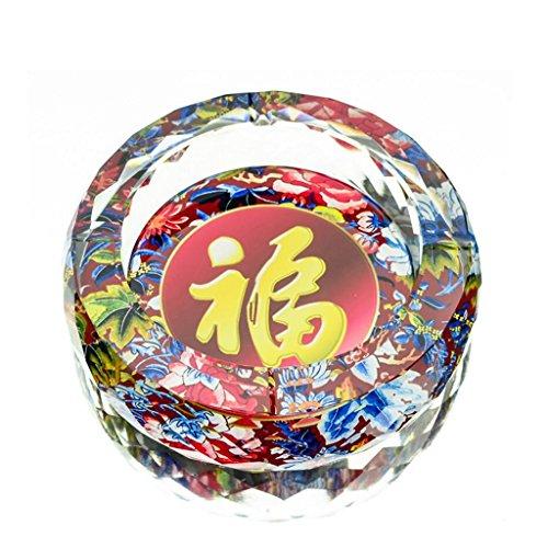 cendrier Xuan - worth having Modèle de bénédictions en 3D Style d'impression couleur cristal rond Accueil Décoration de salon (taille : 15 cm)