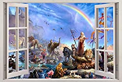 Noah's Ark 3D Window View Decal Graphic Wall Sticker Decor Art Mural