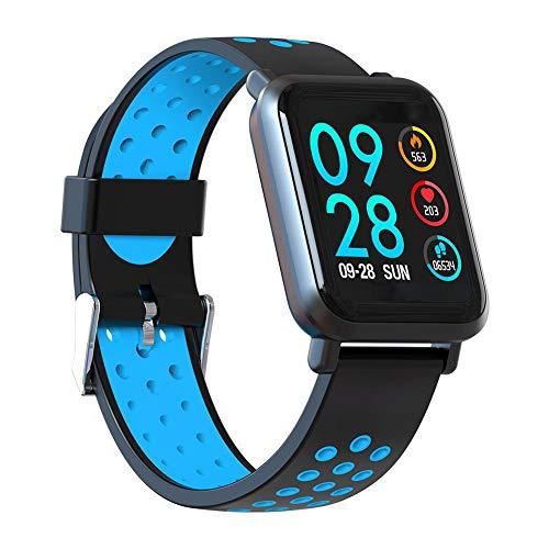 banapoy Monitor de frecuencia cardíaca, fotografía remota, Pulsera Inteligente Impermeable Multideporte de 1,2 Pulgadas, Control de música para monitorear el(Dark Blue)