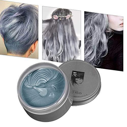 Temporäre Haarfarbe Farbstoff Non-permanent DIY Haarfarbe Wachs Schlamm Washable Farbiges Haarfarbe Creme Für Party Cosplay Halloween (grau)