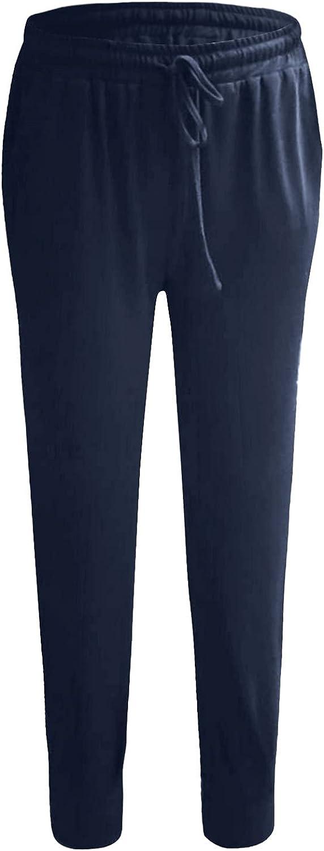 Jumaocio Women Sports Pants Solid Color Straight Elastic Waist Trousers (Dark Bule-3, S)