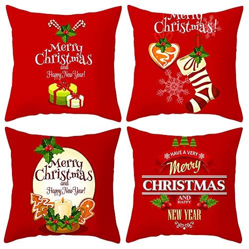 ARNTY Fundas de Cojines Navidad 45x45cm,Navideños Fundas Cojines Decorativos para Sofa Terciopelo Sencillo y Decorativo Cojines Hojas para Sofá Camas Dormitorio Coche