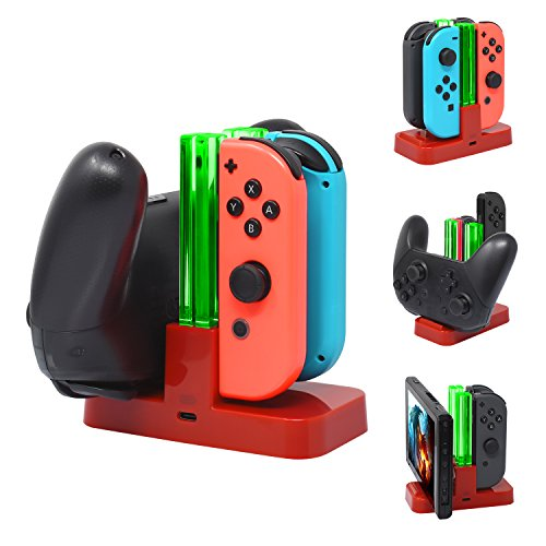 FASTSNAIL Controller Charger for Nintendo Switch, Charging Dock Stand Station for Switch Joy-con and Pro Controller with Charging Indicator Red