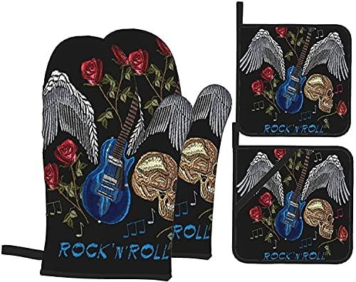 4 pezzi set di guanti da forno e presine, rock roll ricamo musica stampa teschio ali di chitarra rose arte classica, guanti da cucina resistenti al calore per cucinare, cuocere al forno, gri