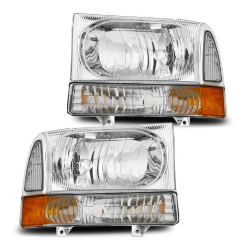SPPC Headlights Chrome Assembly Set with Corner Light For Ford Excursion/Super...