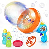 2. WisToyz Bubble Machine Bubble Blower Giant & Small Bubble Maker with 2 Bubble Wands, Bubble Machine for Kids Dip &Press Bubble Gun 800+ Bubbles Per Minute 2 x 8 oz Bubble Solution Included
