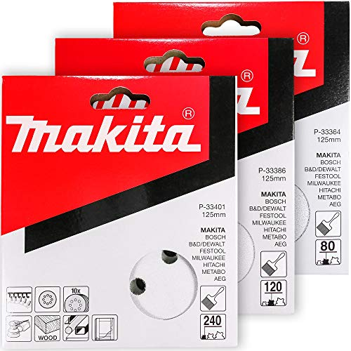 Makita 30 Piece - Multi Grit Sanding Disc Set For 5 Inch Random Orbit Sanders - For Wood, Metal & Plastic - 80, 120 & 240 Grit 8 Hole Hook-And-Loop Sandpaper