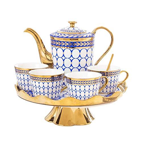 XXSHN Tazas de café de cerámica y Juego de ollas Tazas de té de Leche para el Desayuno con Bandeja giratoria Vasos 8 Piezas Regalos de Boda ecológicos