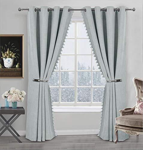 Always4u - Cortina opaca de lino con flecos y pompones, cortina térmica aislante antifrío, decoración para cocina, dormitorio, moderna, 140 x 245 cm, lote de 2 unidades