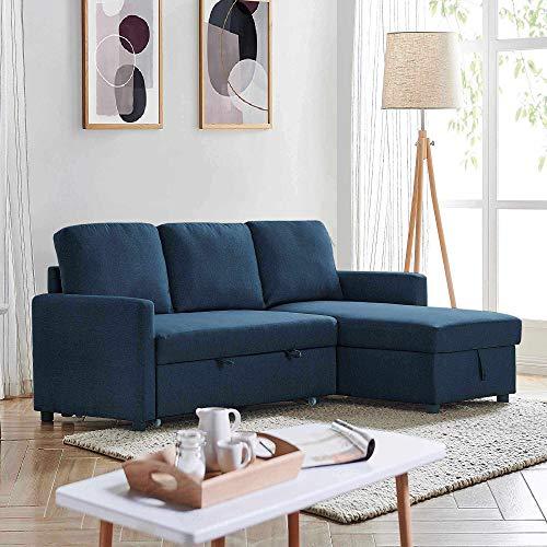Mobilier Deco - Divano convertibile con cassapanca, angolo reversibile in tessuto, colore: blu