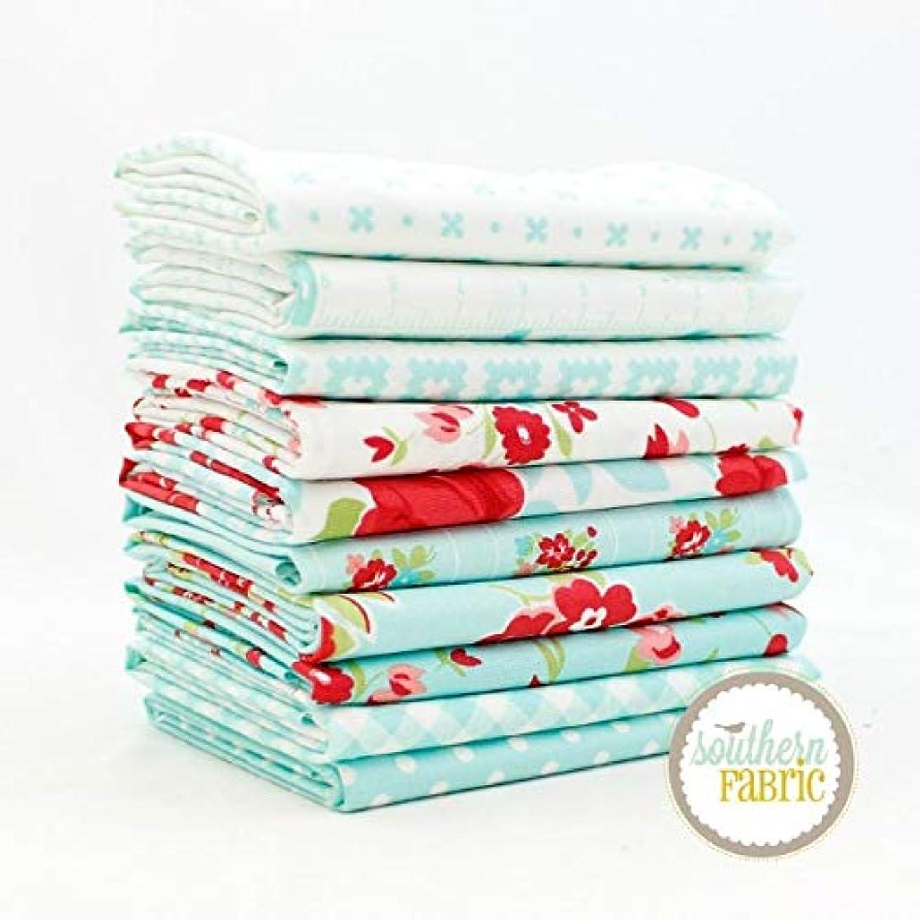 United Notions Little Snippets - Aqua Fat Quarter Bundle (10 pcs) by Bonnie and Camille 18 x 21 inches (45.72cm x 53.34cm) Fabric cuts DIY Quilt Fabric