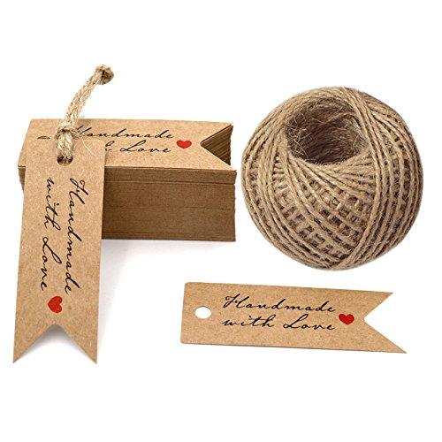 Etiquetas de regalo hechas a mano, etiquetas Kraft de 100 piezas, 7 cm x 2,5 cm...