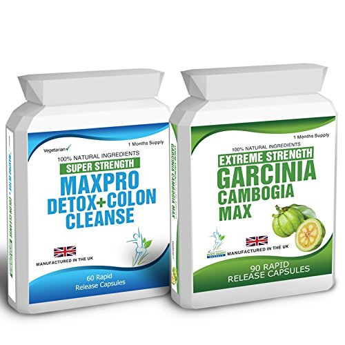 90 Garcinia Cambogia & 60 Colon Cleanse Weight Loss Detox Slimming Diet Pills - Free Meal Plan & Dieting Tips
