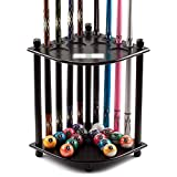 GSE Games & Sports Expert Corner-Style Floor Stand Billiard Pool Cue Racks with Score Counters. Holds 8 Pool Cue Stick and Full Set of Pool Balls (Black)