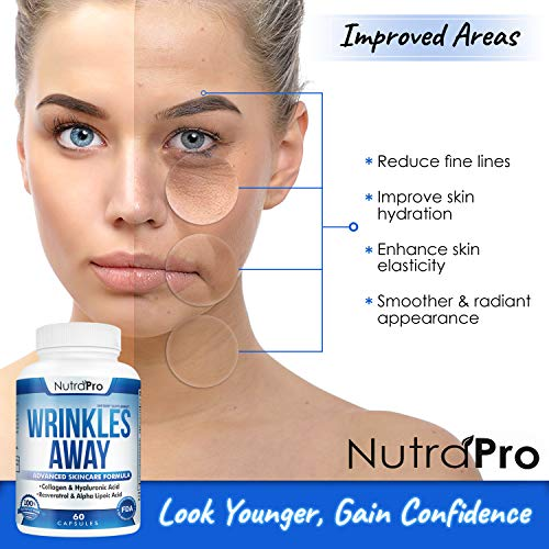 51NVWvjHmFL - Skin Vitamins To Reduce Wrinkles and Fine Lines. The Only Skin Supplement With Collagen, Resveratrol and Hyaluronic Acid Together To Renew Skin by NutraPro. | Launch Special Price |