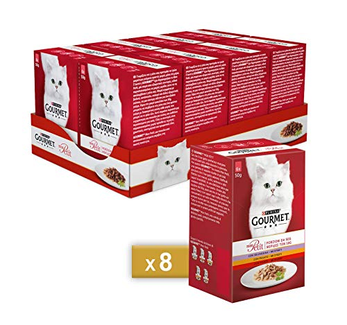 Purina Gourmet Mon Petit - Húmedo de Gato Delicioso Recetas con Carnes, con Ternera, hígado y Salvaje – 48 Sobres de 50 g Cada uno (8 Paquetes de 6 x 50 g)