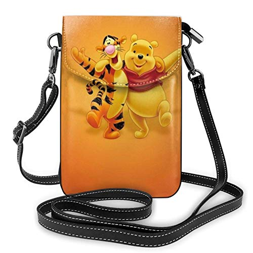 shenguang Winnie Pooh Cartoon Bee Lightweight Small Crossbody Bags Leather Cell Phone Purses Travel Pouch Shoulder Bag Wallet With Credit Card Slots for Women